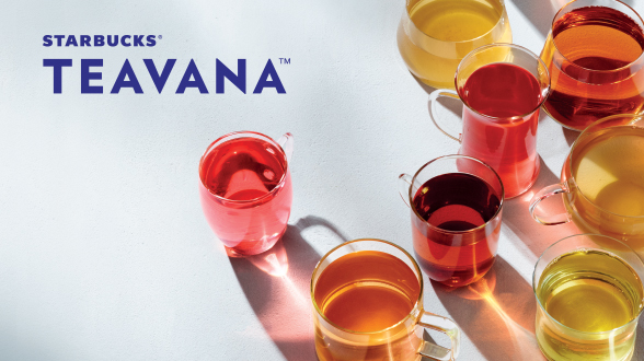 Starbucks Teavana Banner with light blue background and assortment of teas in glass mugs