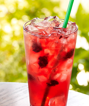 Berry Hibiscus Starbucks Refresha over ice with green straw