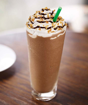 Starbucks Mocha Coconut Frappuccino on table